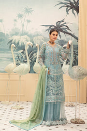 Latest embroidered net eid dress online in elegant blue color