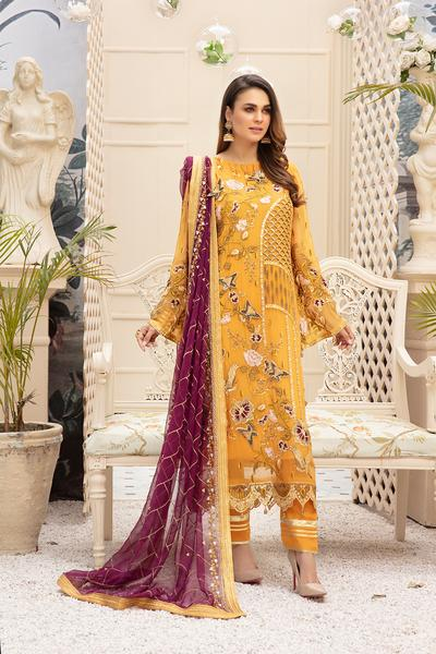 Latest embroidered Pakistani chiffon eid dress online in mustard color
