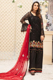 Latest embroidered Pakistani chiffon eid outfit in elegant black color