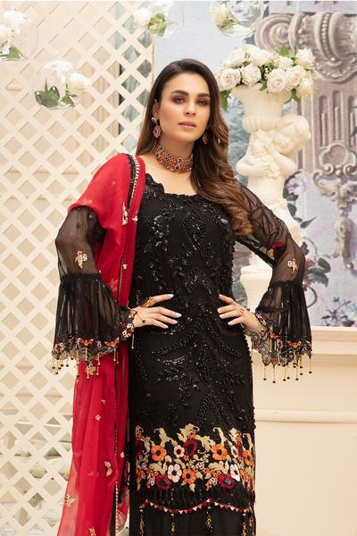 Latest embroidered Pakistani chiffon eid outfit in elegant black color # E2214
