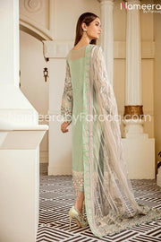 Embrioded chiffon light green suit 2021