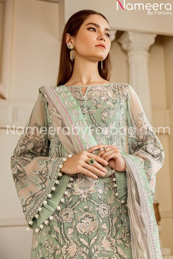 Embrioded chiffon light green party wear