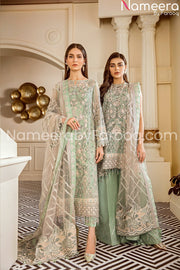 Embrioded chiffon light green suit