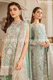 Embrioded chiffon light green suit online