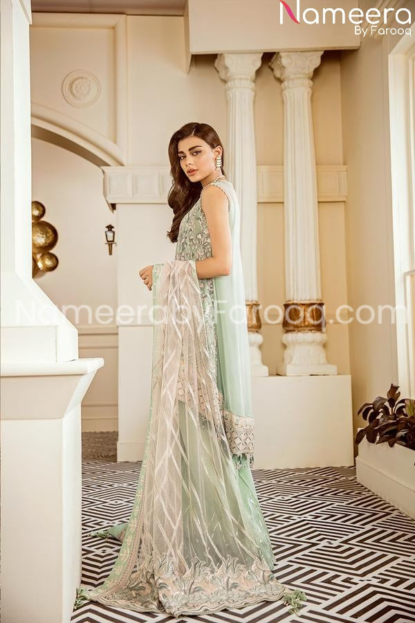 Embrioded chiffon light green suitonline 2021