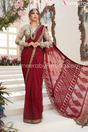 Designer Chiffon Saree in Deep Red and Beige 2021