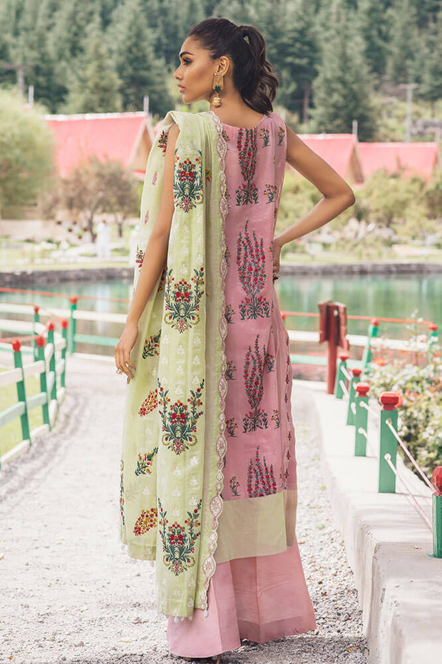 Pakistani designer cotton embroidered dress in light purple color # P2366