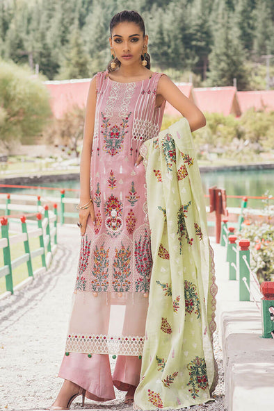 Pakistani designer cotton embroidered dress in light purple color