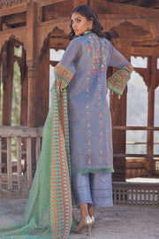 Pakistani designer cotton embroidered outfit in xenon blue color # P2367