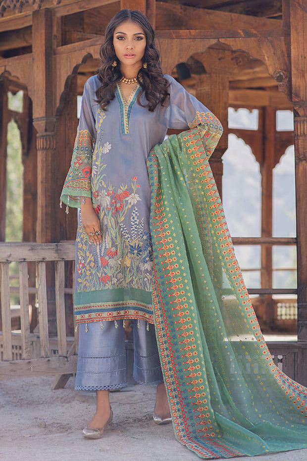 Pakistani designer cotton embroidered outfit in xenon blue color