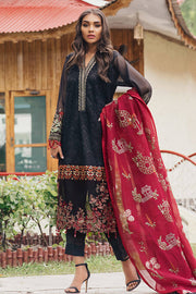 Beautiful Pakistani cotton net dress in black and red color # P2379