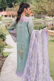 Beautiful Pakistani cotton and organza dress in tiffany blue color # P2373
