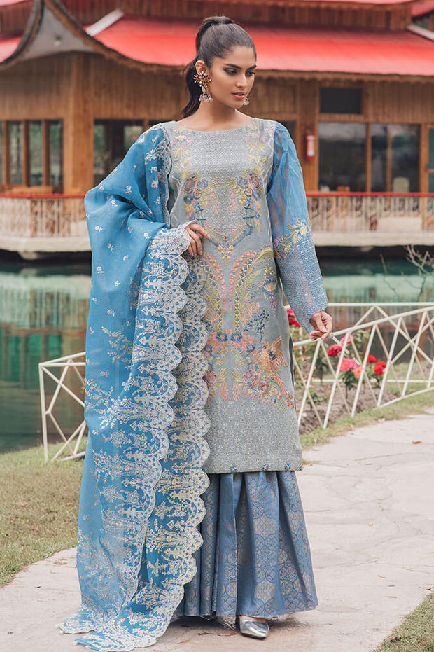 Beautiful Pakistani cotton and organza outfit in blue bell color # P2374