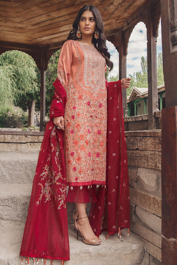 Beautiful Pakistani cotton outfit in pink and red color # P2369