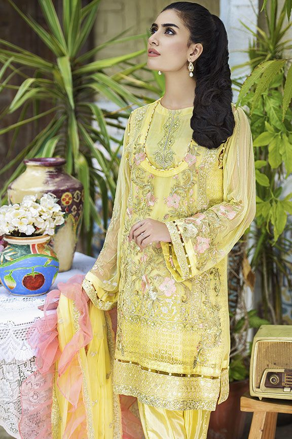 Beautiful crinkle chiffon dress in lavish yellow color # P2292