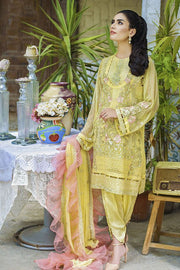 Beautiful crinkle chiffon dress in lavish yellow color