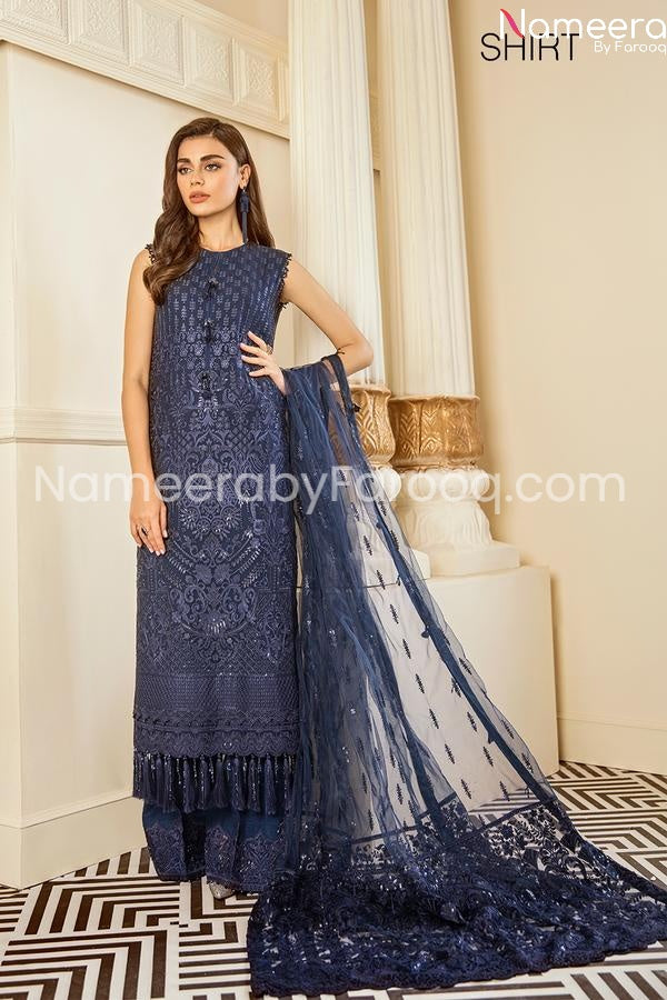 Party wear embrioded dark blue suit