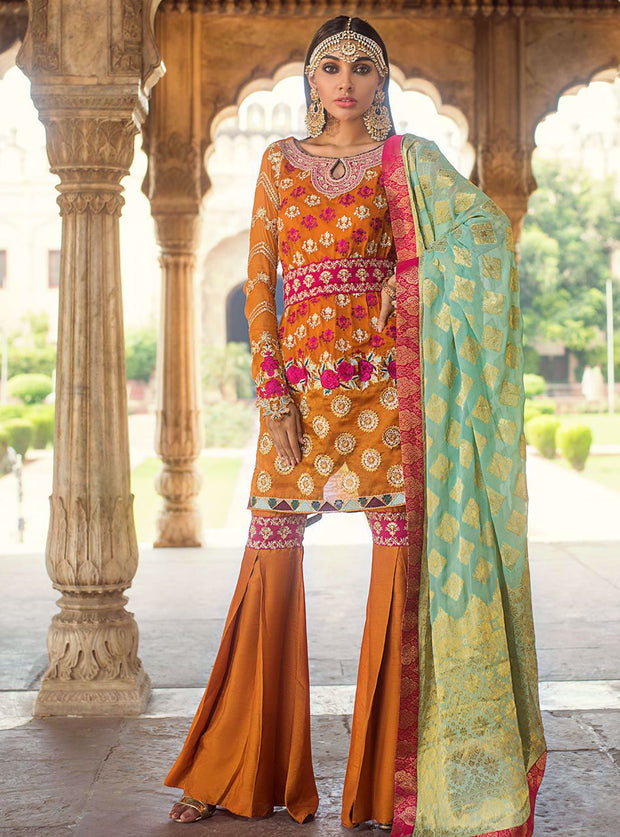 Pakistani designer embroidered chiffon outfit in orange color