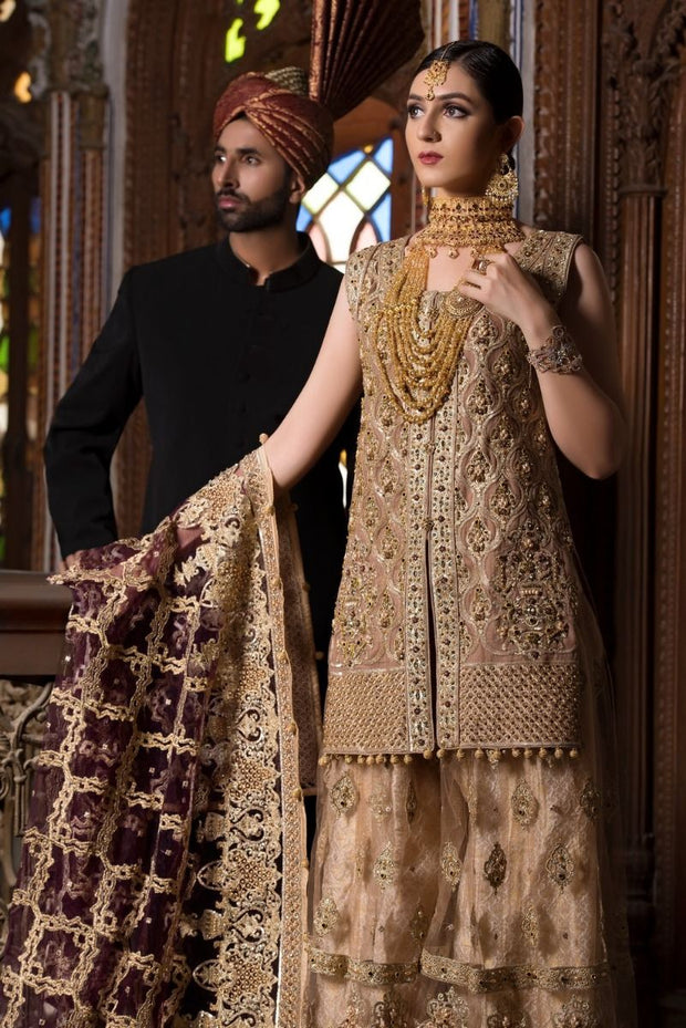 Beautiful designer bridal dress embroidered in golden color # B3300