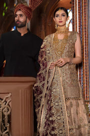 Beautiful designer bridal dress embroidered in golden color