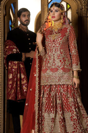 Beautiful designer bridal outfit in pinkish red color # B3301