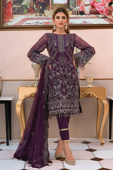 Pakistani designer chiffon outfit thread embroidered in purple color