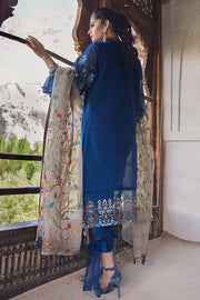 Beautiful embroidered Pakistani designer cotton dress in blue color # P2370