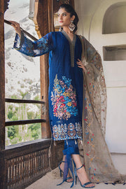 Beautiful Pakistani designer cotton dress in blue color