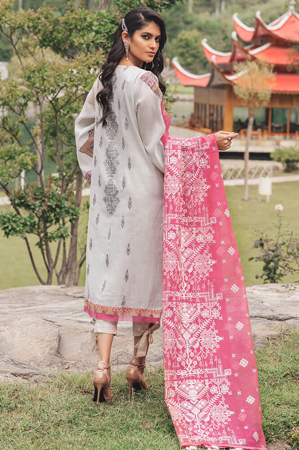 Beautiful Pakistani designer cotton outfit in lilly white color # P2371