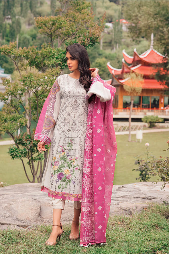 Beautiful Pakistani designer cotton outfit in lilly white color