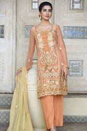 Beautiful designer crinkle chiffon dress in pale rust color # P2290