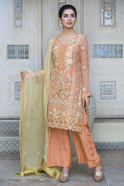 Beautiful designer crinkle chiffon dress in pale rust color