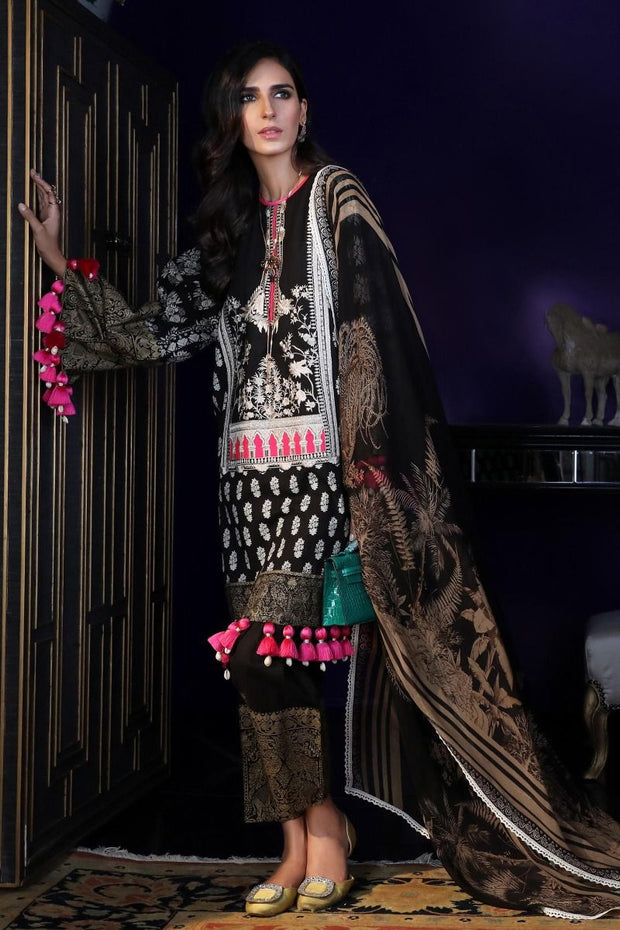 Pakistani designer dobby woven dress for casual wear in black color # P2391