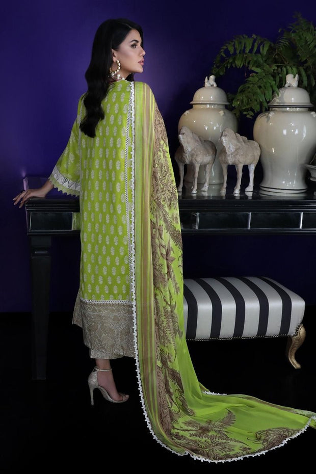 Pakistani designer dobby woven outfit for casual wear in green color # P2392