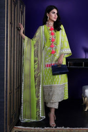 Pakistani designer dobby woven outfit for casual wear in green color