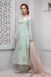 Beautiful designer dress nicely embroidered in light pistachio color # P2221