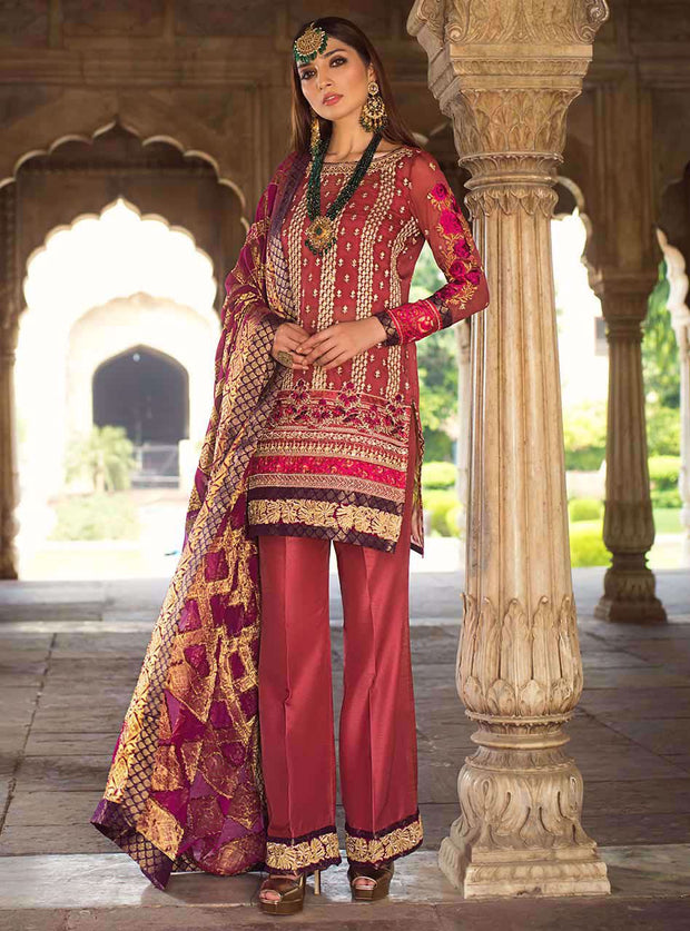 Pakistani designer embroidered chiffon dress in pink color # P2341