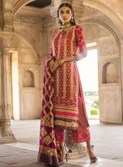 Pakistani designer embroidered chiffon dress in pink color