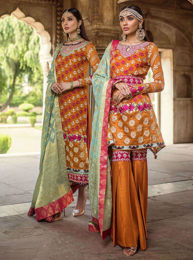 Pakistani designer embroidered chiffon outfit in orange color # P2343