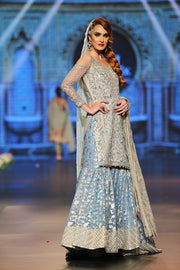Designer embroidered gharara dress in blue and white color # B3351