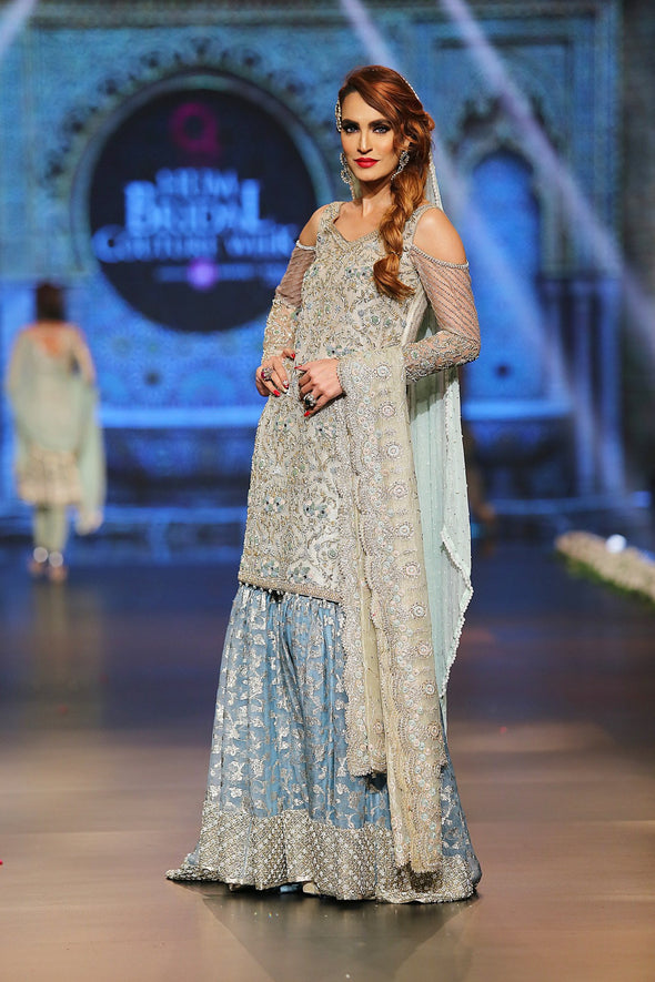Designer embroidered gharara dress in blue and white color