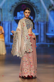 Designer embroidered lehnga dress in blue, gold and red color # B3354