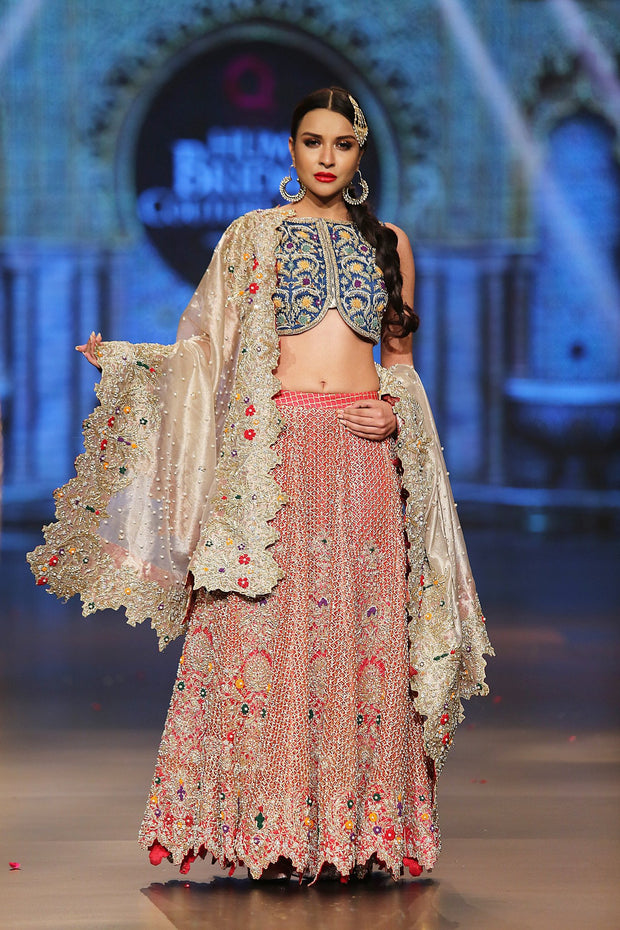 Designer embroidered lehnga dress in blue, gold and red color