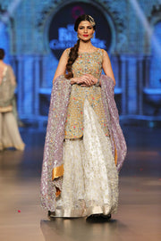 Designer embroidered lehnga dress in lilac, gold and white color # B3355