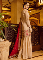 Pakistani designer embroidered outfit in skin color # P2297