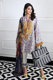 Pakistani designer woven dress for casual wear in grey color