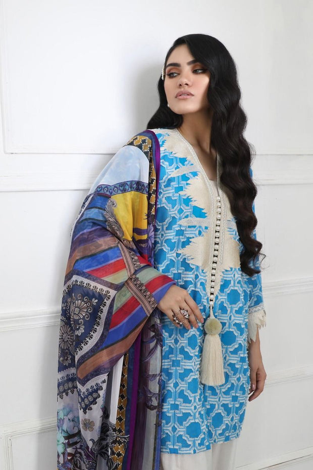Pakistani designer woven outfit for casual wear in azure color # P2388