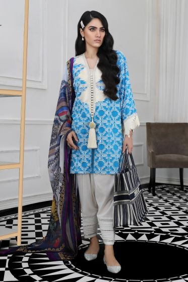 Pakistani designer woven outfit for casual wear in azure color