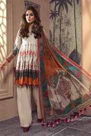 Elegant Pakistani designer khaddar dress in off-white color