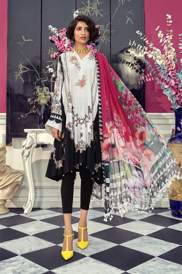 Pakistani designer linen dress digitally printed in white color # P2356